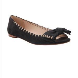 Delman Sami Peep Toe Bow Flat. Size US 8M/EUR 38.5